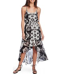 women's 1.state tie dye high/low dress, size x-large - black