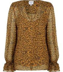 blouse met panterprint sallyn  bruin