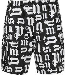 palm angels monogram print swim shorts - black