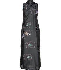 patch organza maxi dress galajurk zwart ganni