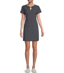 tommy hilfiger women's striped short-sleeve dress - sky captain - size 2
