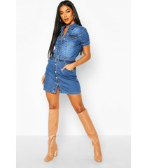 denim belted short sleeve dress, blue