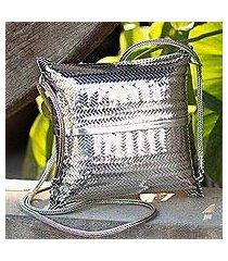 sterling silver plated shoulder bag, 'thai weavings' (thailand)