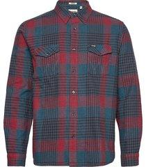 ls 2 pocket flap shirt skjorta casual blå wrangler