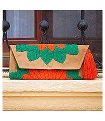 cotton blend clutch, 'wrap around bloom in scarlet' (mexico)