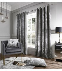 """crushed velvet silver lined 66"""" x 54"""" ring top curtains & 17"""" button cushion"""