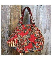 beaded cotton batik handbag, 'red peacock' (indonesia)