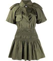 self-portrait trench mini dress - green