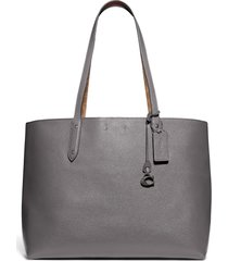 coach central leather & signature coated canvas tote - grey (nordstrom exclusive)