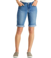 style & co curvy fit cuffed denim bermuda shorts, created for macy's