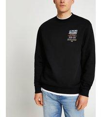 river island mens black 'la palma miami' back print sweatshirt