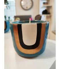 świeca w kubeczku ręcznie malowanym