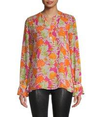calvin klein women's floral-print top - orange multicolor - size m