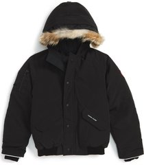 kid's canada goose 'rundle' down bomber jacket with genuine coyote fur trim, size l (14-16) - black