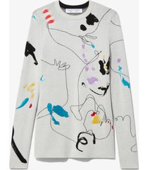 proenza schouler white label embroidered jacquard knit pullover off white/black/grey xs