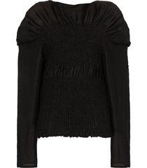 totême coripe ruched boat-neck blouse - black