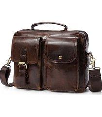 borsa a tracolla da viaggio vintage in vera pelle con tracolla