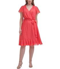 jessica howard plus size chiffon faux-wrap dress