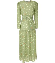 adriana degreas silk polka dot dress - green