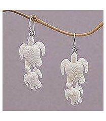 bone dangle earrings, 'sea turtle bond' (indonesia)