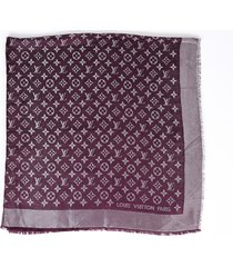 louis vuitton monogram shine shawl purple silk wool scarf purple sz: