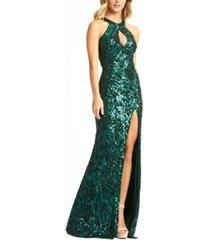 mac duggal sequinned halter-neck gown