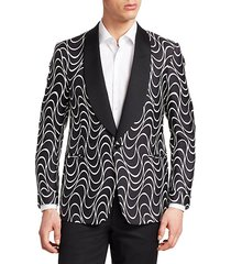 optical-print silk one-button jacket