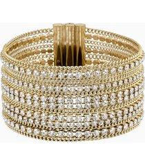 bracciale wide fit, bianco, placcato oro