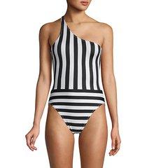 spliced one-shoulder mio one-piece swimsuit