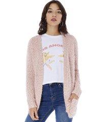 tejido cardigan peludo mujer palo rosa corona