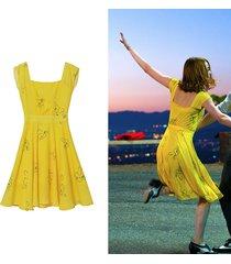 new yellow chiffon dress the same kind dresses as emma stone in movie la la land