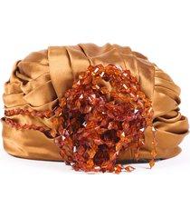 christian dior vintage chapeaux beaded satin turban orange sz: