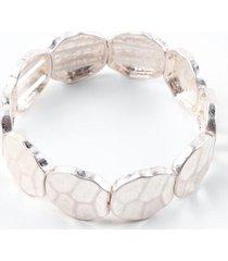 athena hammered metal stretch bracelet - silver
