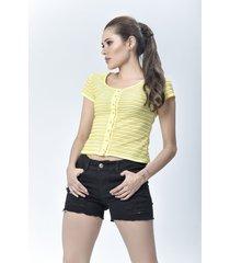 blusa dama amarillo di bello jeans  calssic blouse ref b192