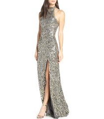 women's mac duggal embellished halter column gown, size 12 - grey