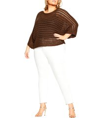 plus size women's city chic cool crochet sweater, size x-small - brown