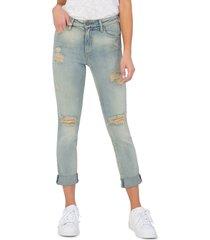 women's kut from the kloth catherine ripped high waist slim boyfriend jeans, size 16 - blue