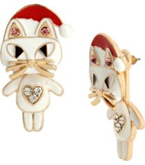betsey johnson santa cat front back earrings