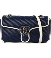 gucci gg marmont blue shoulder bag
