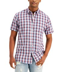 sun + stone men's stuart regular-fit plaid twill shirt