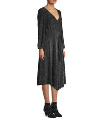 alice + olivia women's coco metallic midi dress - black - size 0