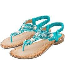 sandalias de cabeza redonda pearl fashion women-blue