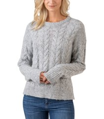 belldini black label crew neck exploded-cable pullover sweater