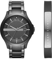 ax armani exchange men's hampton black stainless steel bracelet watch gift set 46mm ax7101
