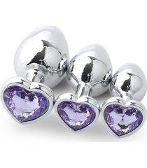 3pcs metal plug anal con forma de corazón grande con traje de medianos y pequeños diamantes-púrpura claro