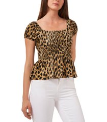 riley & rae leopard-print smocked top, created for macy's