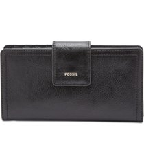 fossil women's logan leather tab clutch wallet