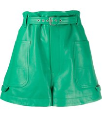 isabel marant xike belted wide-leg shorts - green