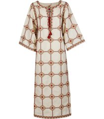 tory burch white and red linen-cotton blend dress