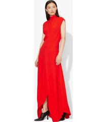 proenza schouler crepe mock neck dress poppy/red 0